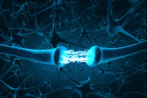 Ilustração em 3D de neurônios realizando sinapse.